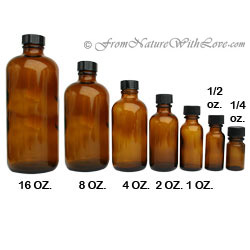 16 oz. Amber Boston Round Bottle with Cap