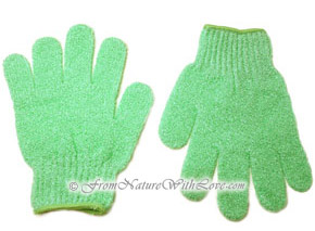 Mint Green Nylon Bath Gloves (pair)