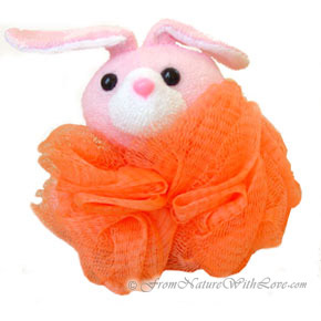Orange Bunny Bath Pouf for Children