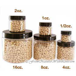 1/2 oz. Clear PET Jars with Black Caps