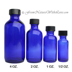 4 oz. Cobalt Boston Round Bottle with Cap
